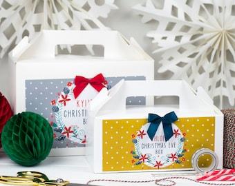 Personalised Christmas Eve Gift Box   XMAS WREATH   White box with ribbon bow
