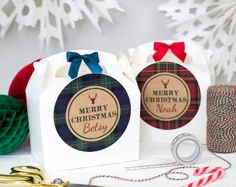 Personalised Christmas Eve Gift Box   Tartan   Xmas Table Favour