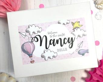 Personslised New Baby Gift Box   Whimsical   Keepsake Memento Christening box