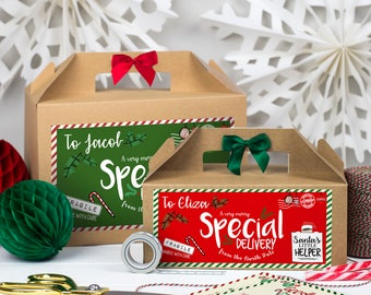 Personalised Christmas Eve Gift Box   ELF RE-DELIVERY parcel  Kraft box with ribbon bow