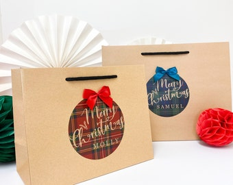 Personalised Christmas Gift Bag   TARTAN BOUTIQUE   Kraft Merry Christmas wrapping