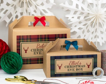 Personalised Christmas Eve Gift Box   TARTAN   Kraft box with ribbon bow