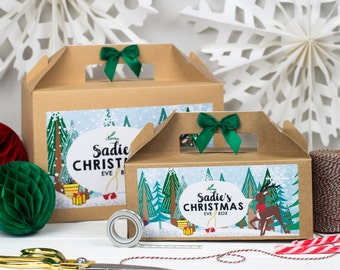 Personalised Christmas Eve Gift Box   XMAS SCENE   Kraft box with ribbon bow