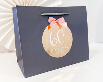 Birthday Gift Bags luxury Personalised | GREY BIRTHDAY FOIL  | Big Number Gift Bag | Rose Gold Foil  | Birthday Party Favour