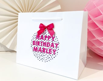 Birthday Gift Bags luxury Personalised | WHITE DALAMTION BIRTHDAY  | Spot Gift Bag | Birthday Party Favour