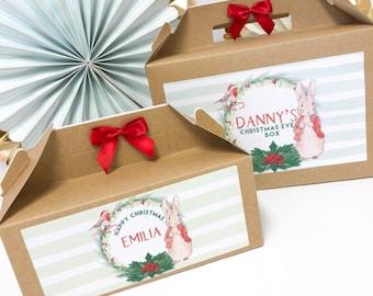 Christmas Eve Box Personalised   PETER RABBIT   Kraft box with ribbon bow 1st christmas