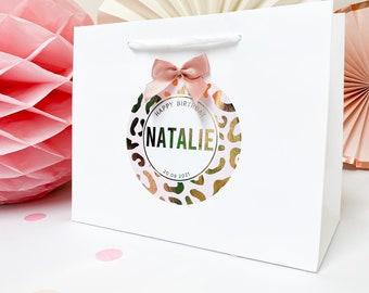 Happy Birthday gift bag | rose gold foil | leopard print | baby pink tassel bow