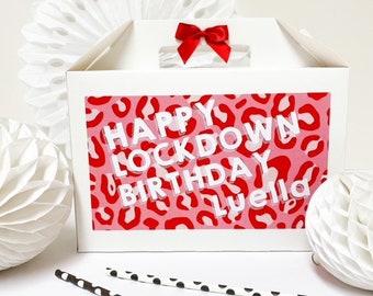 Happy Birthday Box Personalised | LOCKDOWN BIRTHDAY 2020 | White box with ribbon bow