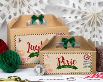 Christmas Eve Box Personalised | NORTH POLE | Kraft box with ribbon bow