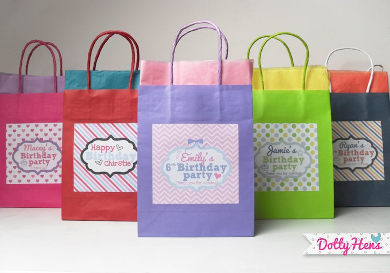 Personalised Childrens Paper Party Loot Gift Bags With