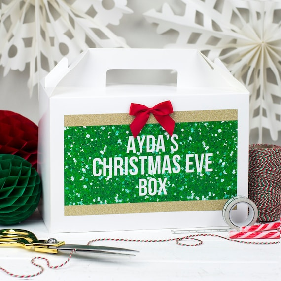 PERSONALISED CHRISTMAS EVE BOX XMAS SPARKLE GLITTERGIFT PRESENT FAVOUR
