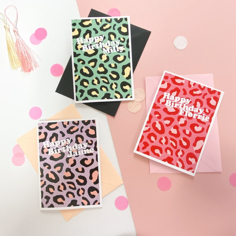 Happy Birthday greetings card  pink red leopard print image 0