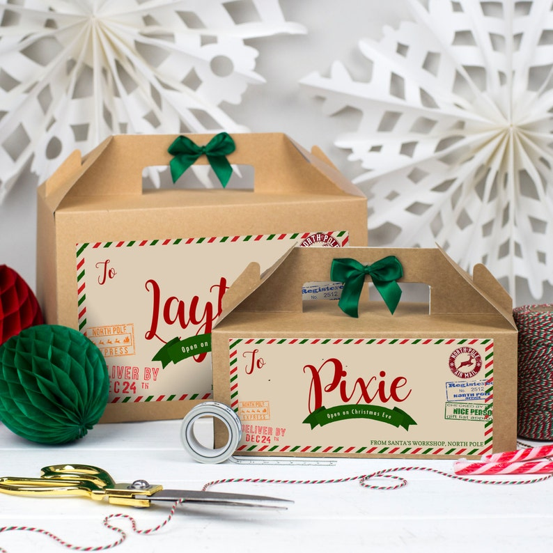 Christmas eve box for kids: Personalised  PARCEL FROM SANTA  Kraft box image 0
