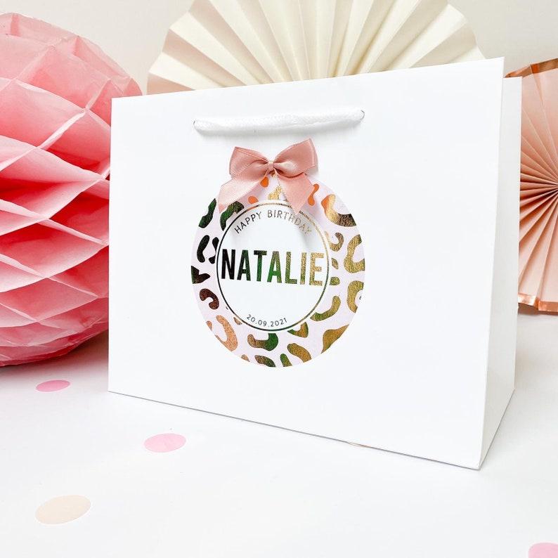 Happy Birthday gift bag  rose gold foil  leopard print  image 0