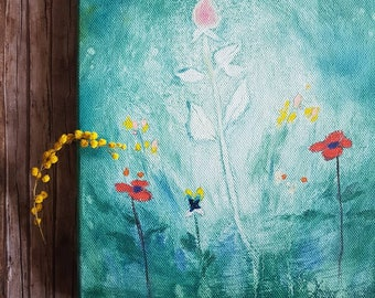 Original rose painting on canvas, Mothers day or anniversary gift, bedroom wall art, small painting with poppies, housewarming gift for her