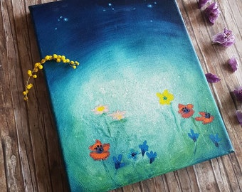 Spring gift for her, engagement present, romantic oil painting with flowers, starry night wall art, bedroom gift women, Easter canvas art