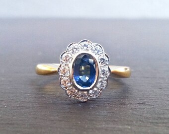 Vintage Sapphire Diamond Halo Engagement Ring