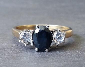 HEIDI - 1.00ct Vintage Sapphire Engagement Ring, Diamond Ring, Engagement Ring, Gold Sapphire & Diamond Ring, Wedding Band