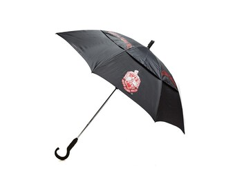 Burgundy//Brown Handle Delta Sigma Theta Sorority Large Hurricane Umbrella Burgundy//White