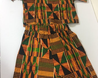 New Afrocentric Colorful Kente Kids Outfit