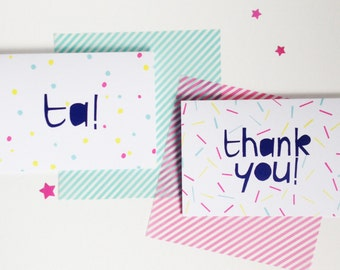 Thank you or Ta Greetings card, A6 with bright blue envelope. Colourful thank you cards individual or a set of 6.