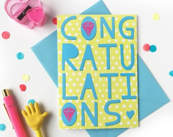 Congratulations card! Wedding, engagement or diamond anniversary celebrations with bold typographic design and diamond motifs