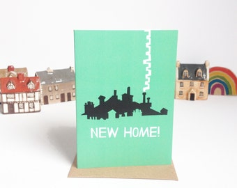 New Home, New City - greetings card, A6. Moving house, city rooftops illustrated design.