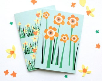 Daffodil or Sunflower Cards, Spring Note card, Easter Card, Mother's Day card, A6. Also for thank you, get well soon or flower lovers!