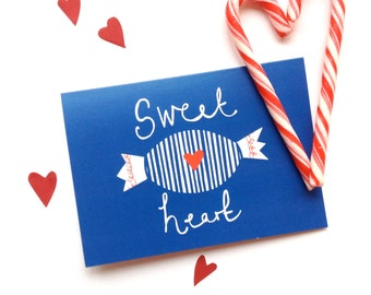 Sweet Heart greetings card, for loved one, anniversary, A6. Blue and red, illustrated design. Perfect for sweet lovers and sweethearts!