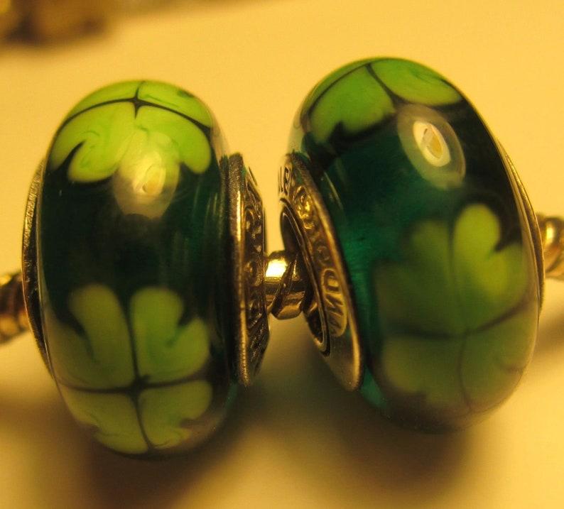 7a3b7c2bb 2 Pandora Murano glass silver beads charm Irish Green Kiss Me | Etsy