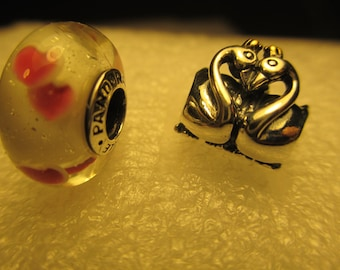 2 Authentic Sterling Silver Pandora 925 Ale Embrace Love Swan Pink Wild Hearts Beads Charms Stamped