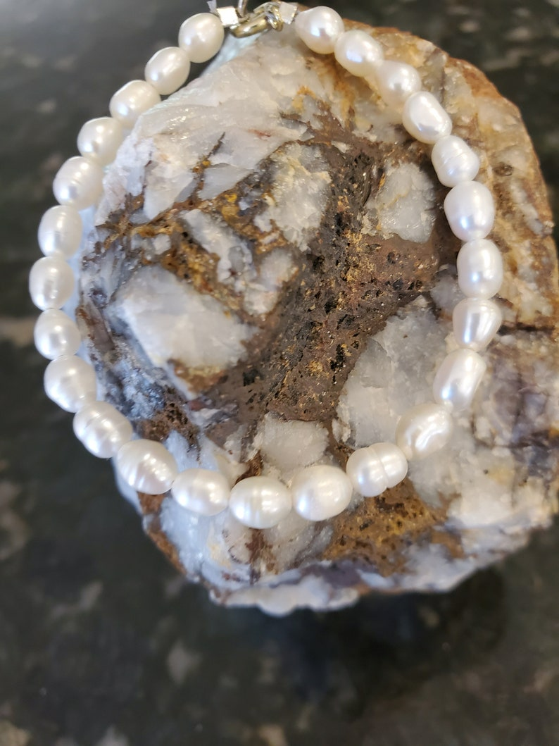 Dainty freshwater pearl bracelet it too is stackable