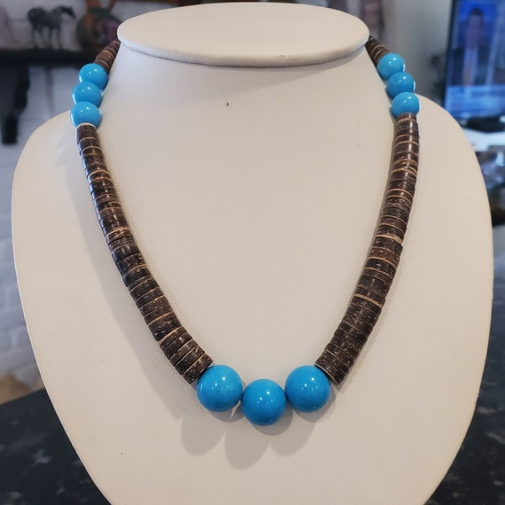 Turquoise and heishi statement necklace