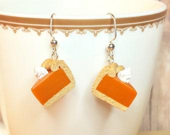 Pumpkin Pie Earrings / Food Jewelry / Pie Jewelry / Dangle Earrings / Holiday / Thanksgiving / Christmas / Polymer Clay / Stainless Steel