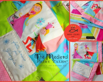 Quilt cover in cotton fabric and fleece with custom embroidery