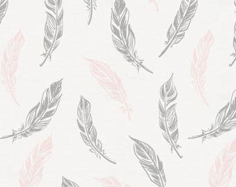 Blush Pink And Silver Gray Hand Drawn Feathers Organic Fabric