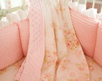 Carousel designs pink floral crib sheet etsy baby girl crib bedding pink floral crib blanket by carousel designs mightylinksfo
