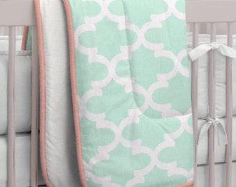 Carousel Designs Sage and White Oars Crib Comforter