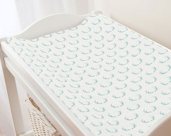 Explore Now! Woodland Antler Little Man Changing Pad Cover Custom and Hand Made Just for You