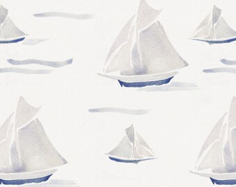 Watercolor Sailboats Organic Fabric - By The Yard - Boy / Nautical / Boats