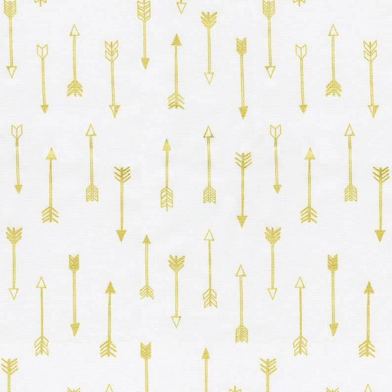 Gender Neutral  Boy  Girl By The Yard White and Gold Arrows Fabric