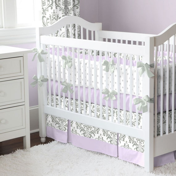 Girl Baby Crib Bedding Lilac And Gray, Grey And Purple Crib Bedding