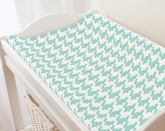 Carousel Designs Mint Modern Houndstooth Changing Pad Cover