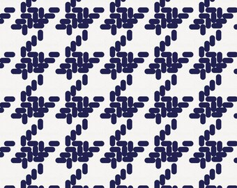 Windsor Navy Modern Houndstooth Organic Fabric - By The Yard - Gender Neutral / Herringbone