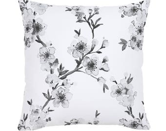 Gray Cherry Blossom Throw Pillow by Carousel Designs. Made in the USA.