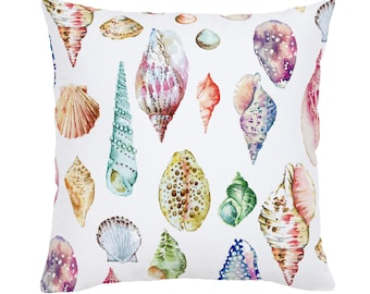 Watercolor Seashells Throw Pillow by Carousel Designs. Made in the USA.