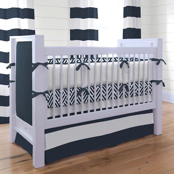 Boy Baby Crib Bedding Navy And White, White And Navy Crib Bedding