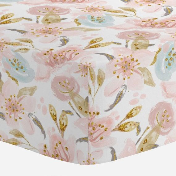 Carousel Designs Pink Hawaiian Floral Cradle Sheet