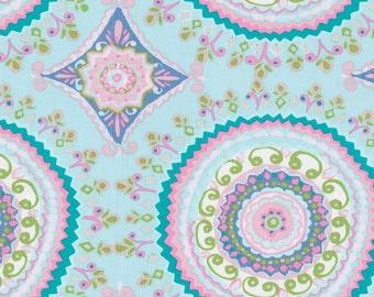 Aqua Haute Circles Fabric - By The Yard - Girl / Modern