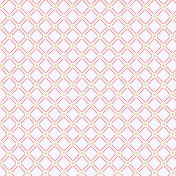 Watermelon Lattice Fabric By The Yard Girl Vintage Etsy